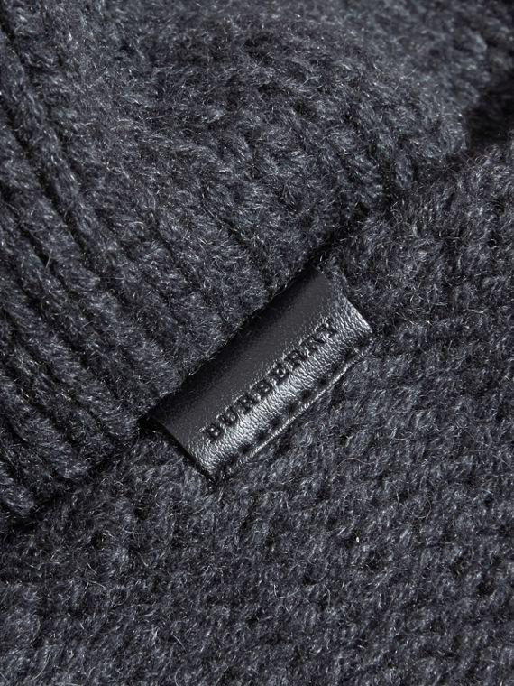 Charcoal Knitted Cashmere Beanie - cell image 2