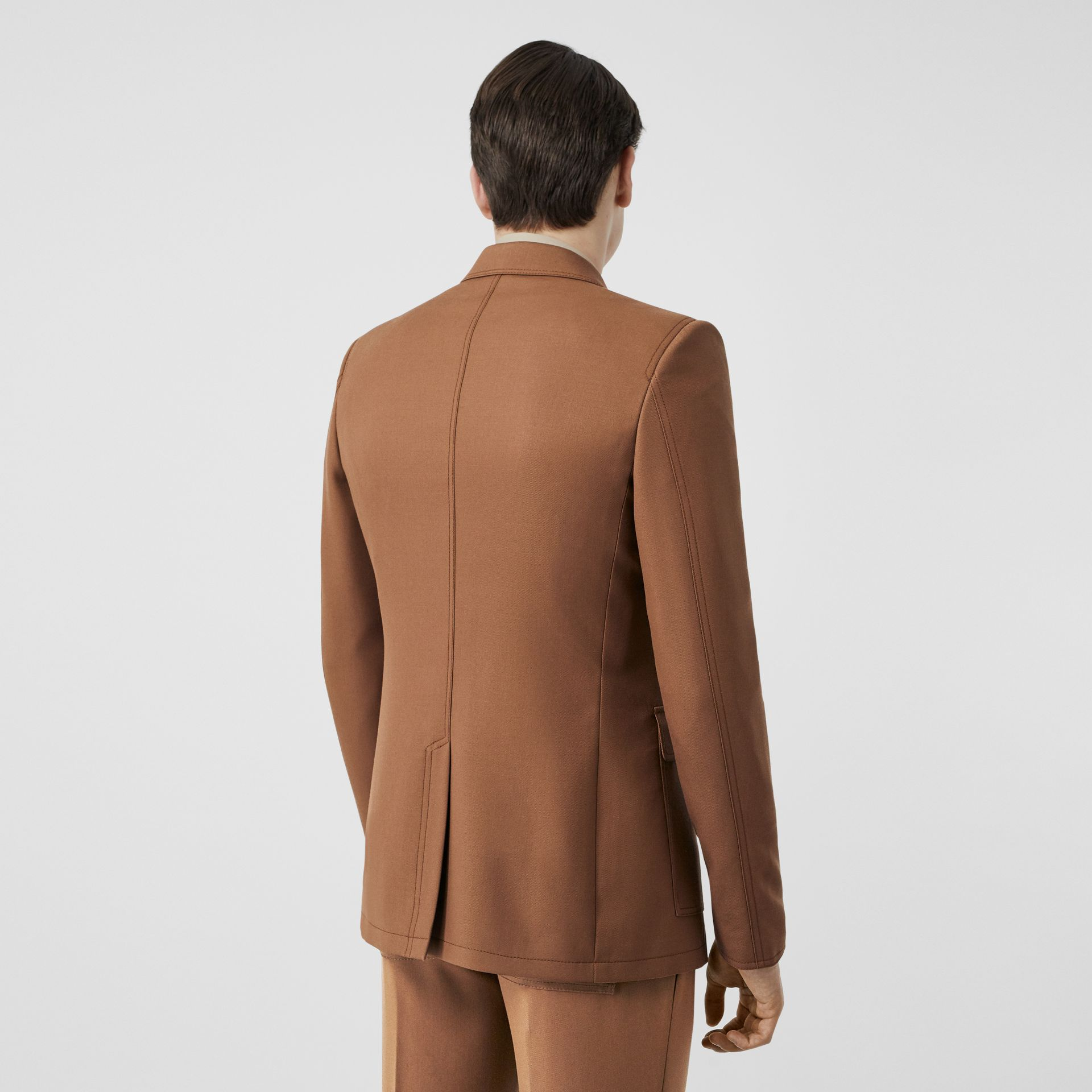 English Fit Zip Detail Wool Tailored Jacket in Dark Walnut - Men | Burberry United Kingdom - gallery image 2