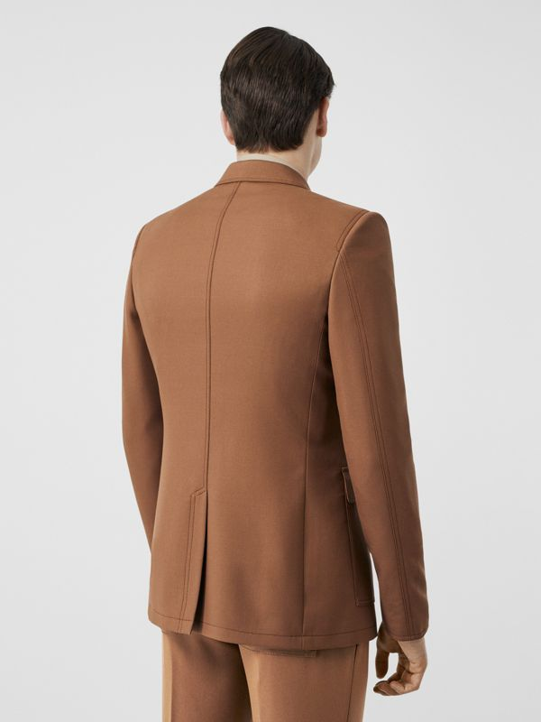 English Fit Zip Detail Wool Tailored Jacket in Dark Walnut - Men | Burberry - cell image 2