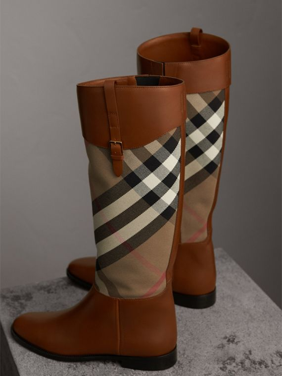 House Check and Leather Riding Boots in Chestnut - Women | Burberry - cell image 3