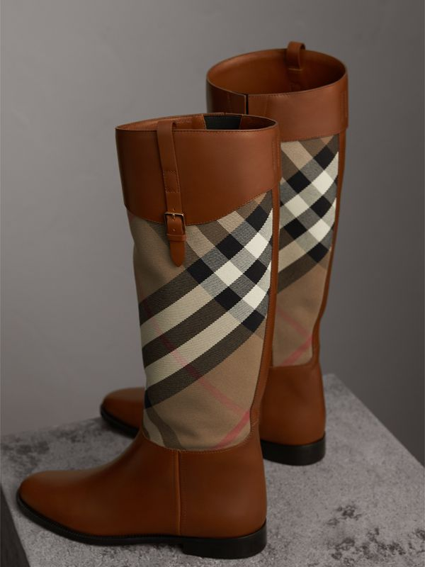 House Check and Leather Riding Boots in Chestnut | Burberry United States - cell image 3