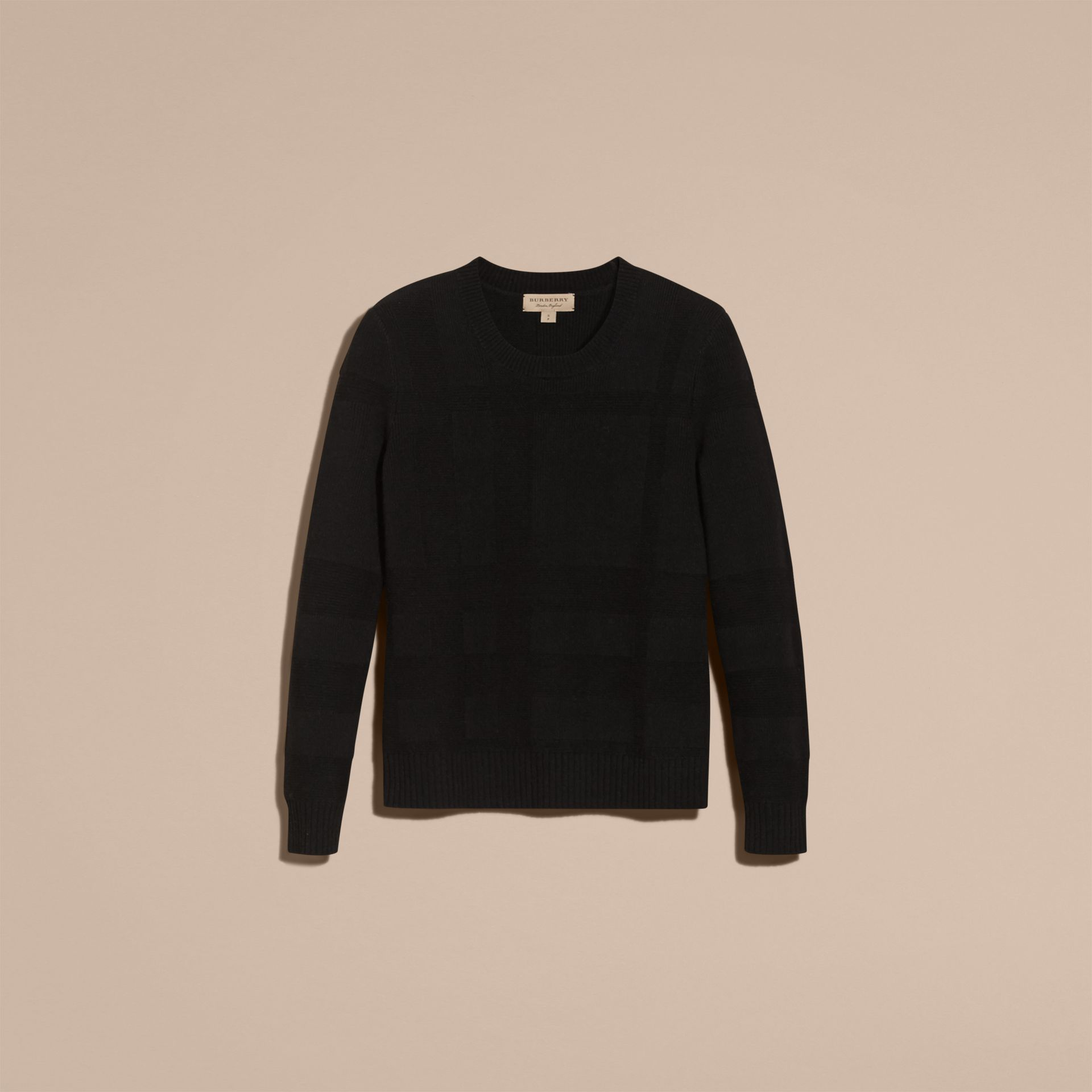 Check-knit Wool Cashmere Sweater Black - gallery image 4
