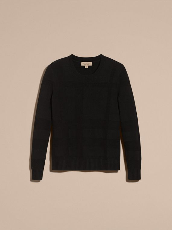 Black Check-knit Wool Cashmere Sweater Black - cell image 3