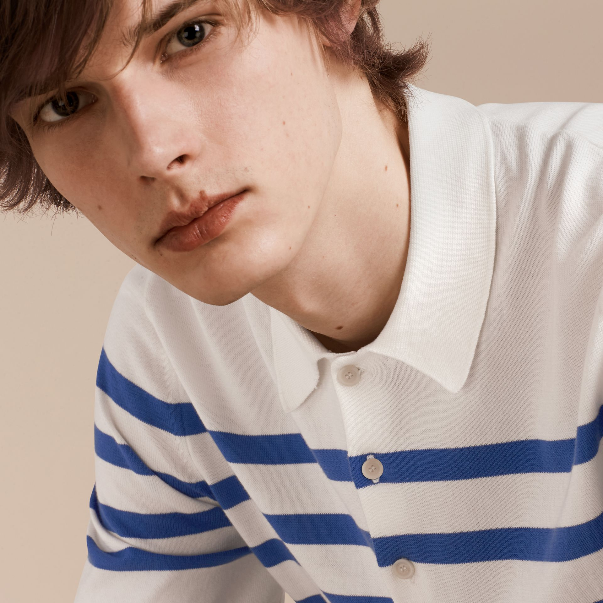 White/bright hydrangea blue Striped Cotton Polo Shirt White/bright Hydrangea Blue - gallery image 5