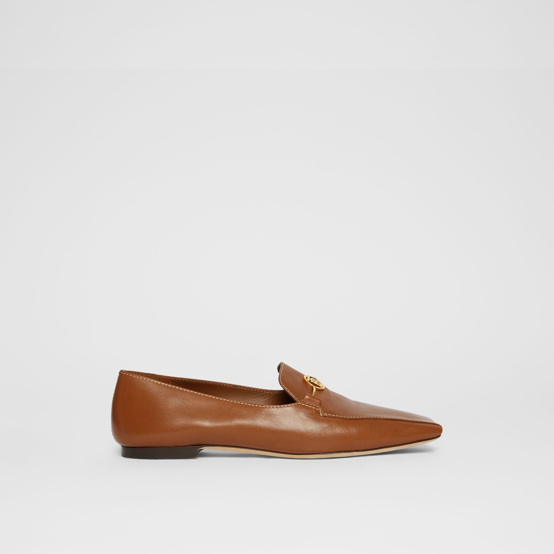 Monogram Motif Leather Loafers in Tan - Women | Burberry United Kingdom - gallery image 5