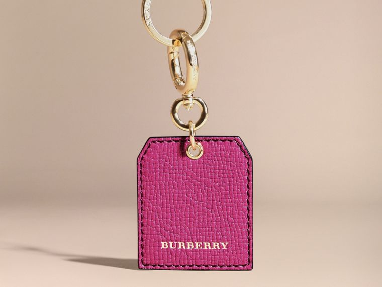 Grainy Leather Key Charm in Brilliant Fuchsia - Women | Burberry - cell image 4