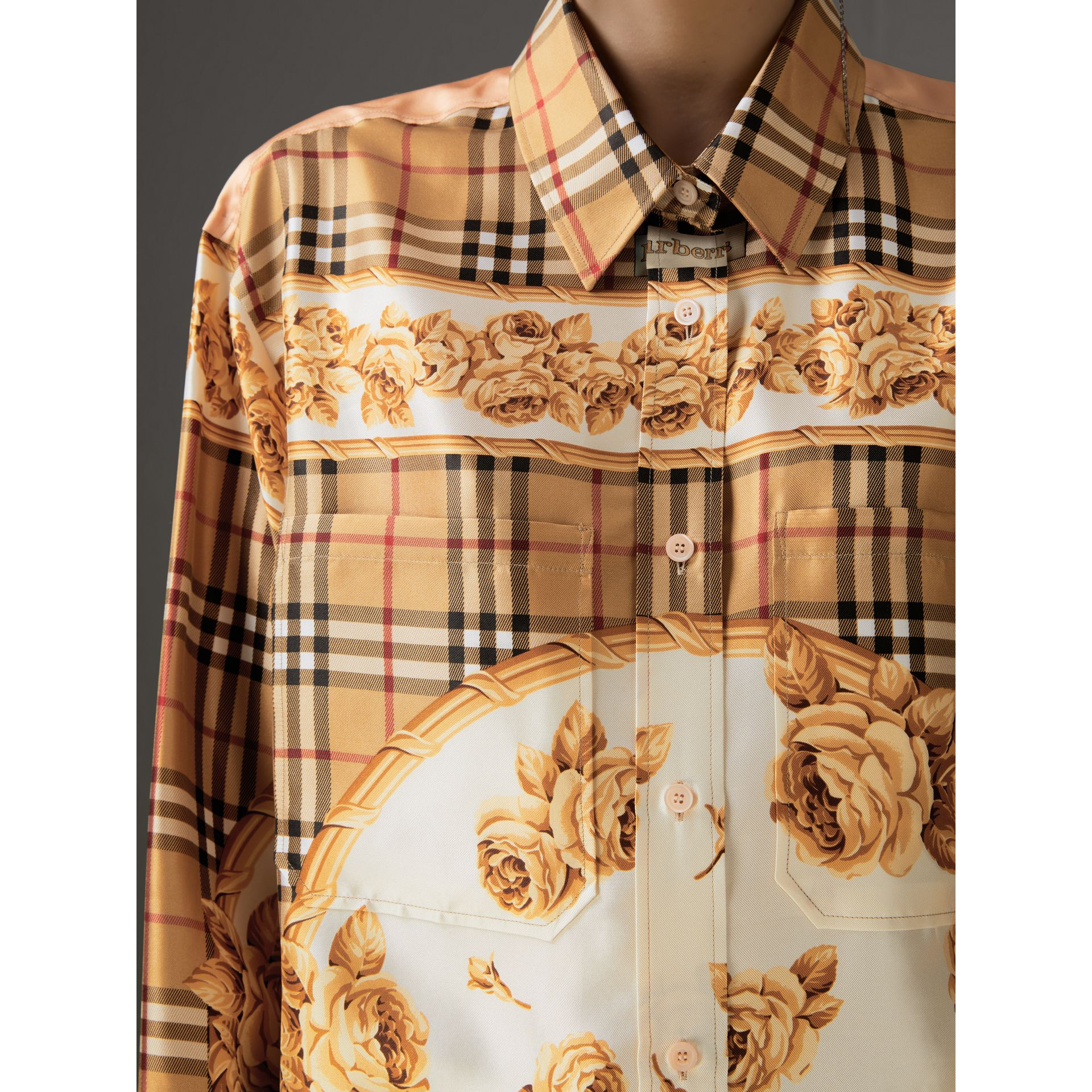 Archive Scarf Print Silk Shirt in Antique Yellow - Women | Burberry - gallery image 1