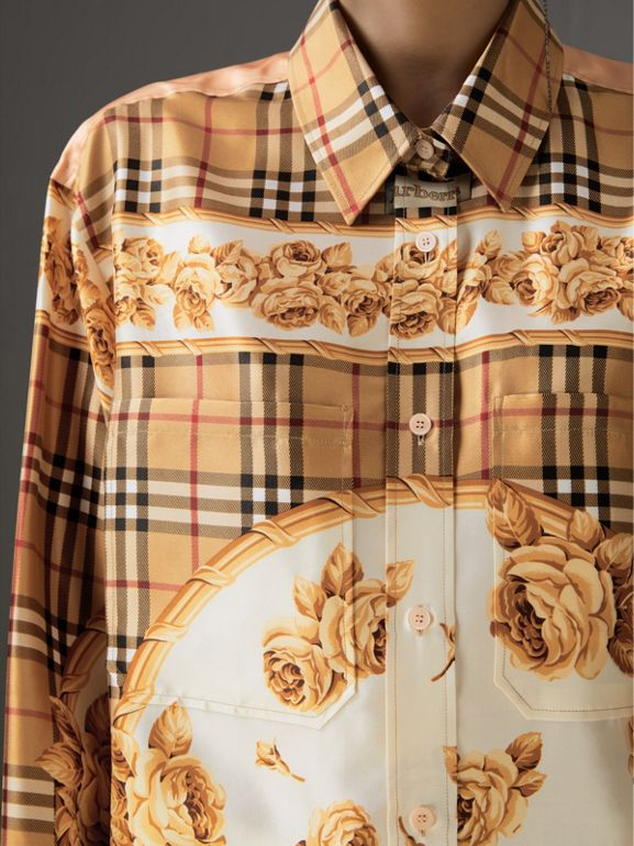 Archive Scarf Print Silk Shirt in Antique Yellow - Women | Burberry United Kingdom - cell image 1