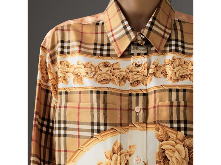 Archive Scarf Print Silk Shirt in Antique Yellow - Women | Burberry - cell image 1