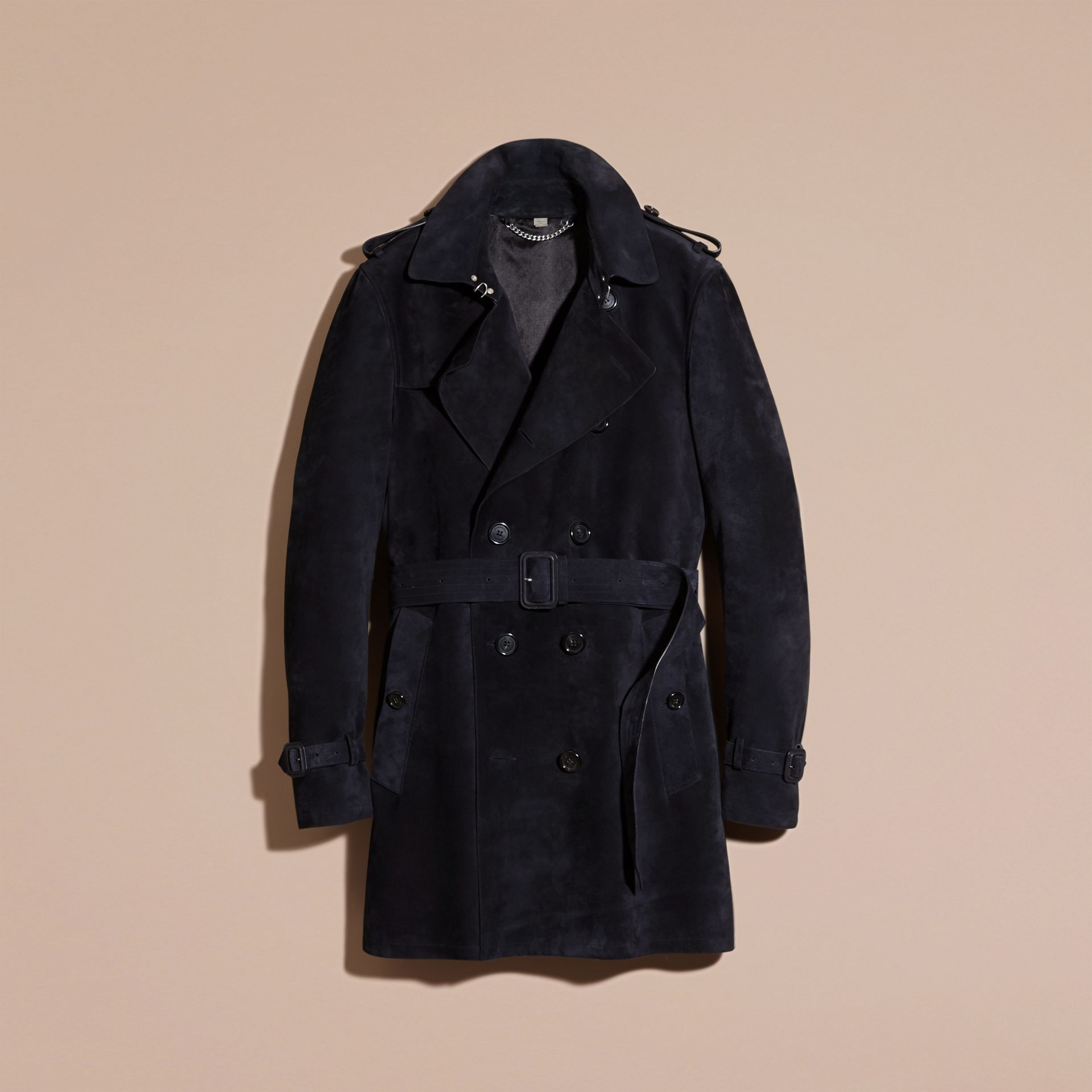 Navy Suede Trench Coat - gallery image 4