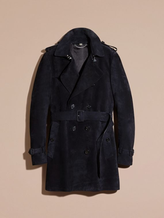 Navy Suede Trench Coat - cell image 3