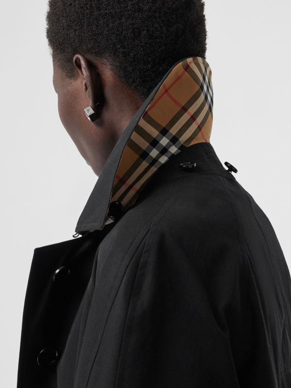 Detachable Hood Tropical Gabardine Swing Coat in Black - Women | Burberry Australia - cell image 3