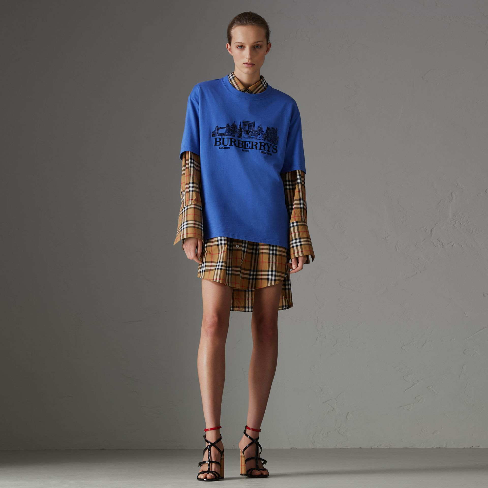 Reissued Cotton T-shirt in Cornflower Blue - Women | Burberry - gallery image 0