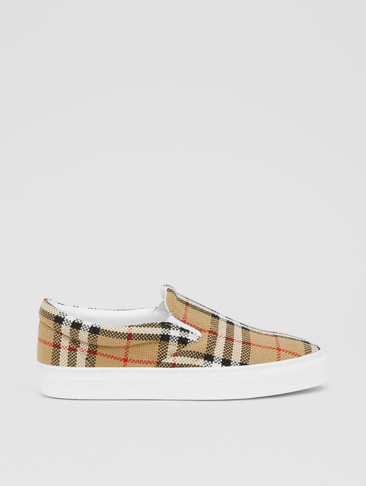 Latticed Cotton Slip-on Sneakers in Archive Beige