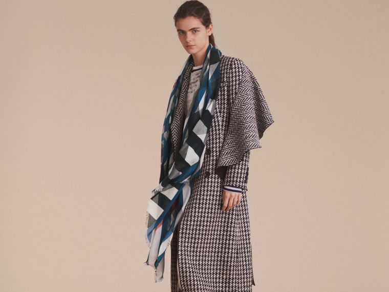 Check and Stripe Modal Cashmere Silk Scarf in Indigo/stone - Women | Burberry - cell image 2