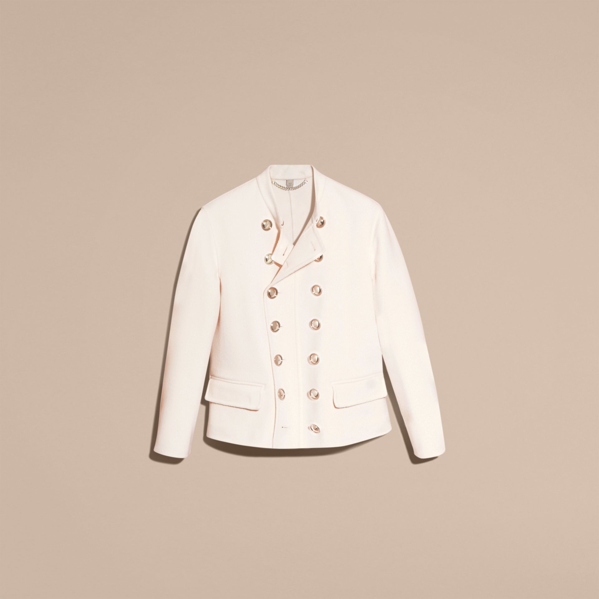 White Double-breasted Wool Cashmere Regimental Jacket - gallery image 4