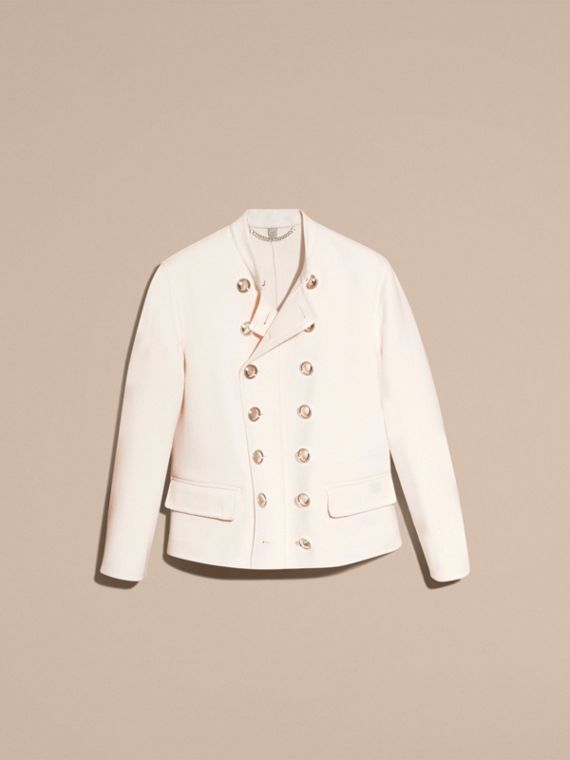 White Double-breasted Wool Cashmere Regimental Jacket - cell image 3