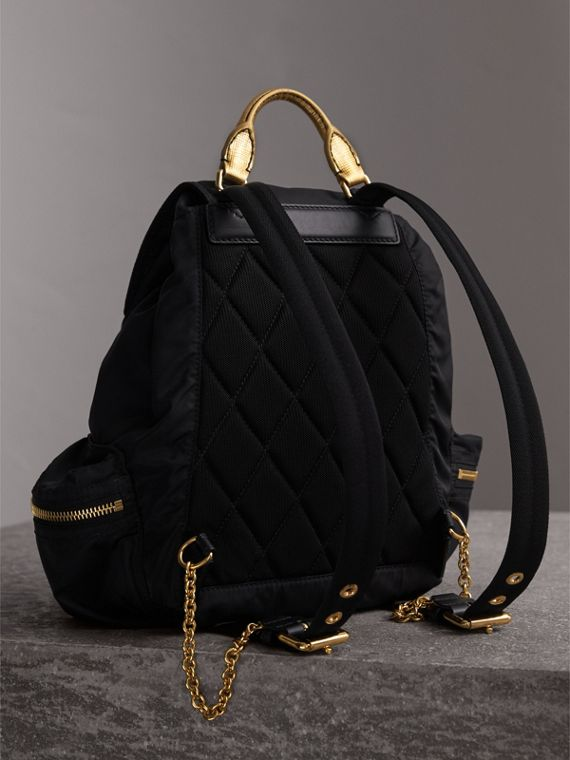 The Medium Rucksack in Two-tone Nylon and Leather in Black/gold - Women | Burberry Canada - cell image 3