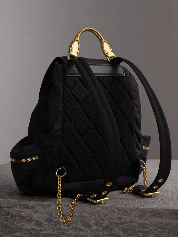 The Medium Rucksack in Two-tone Nylon and Leather in Black/gold - Women | Burberry Hong Kong - cell image 3