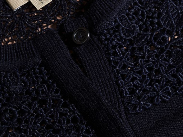 Navy Lace Yoke Merino Wool Cardigan Navy - cell image 1