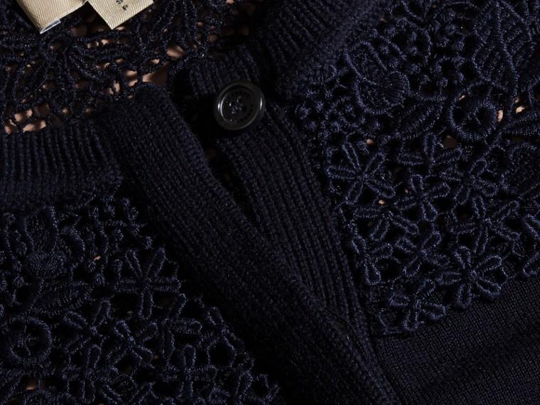 Navy Cardigan in lana Merino con sprone in pizzo Navy - cell image 1