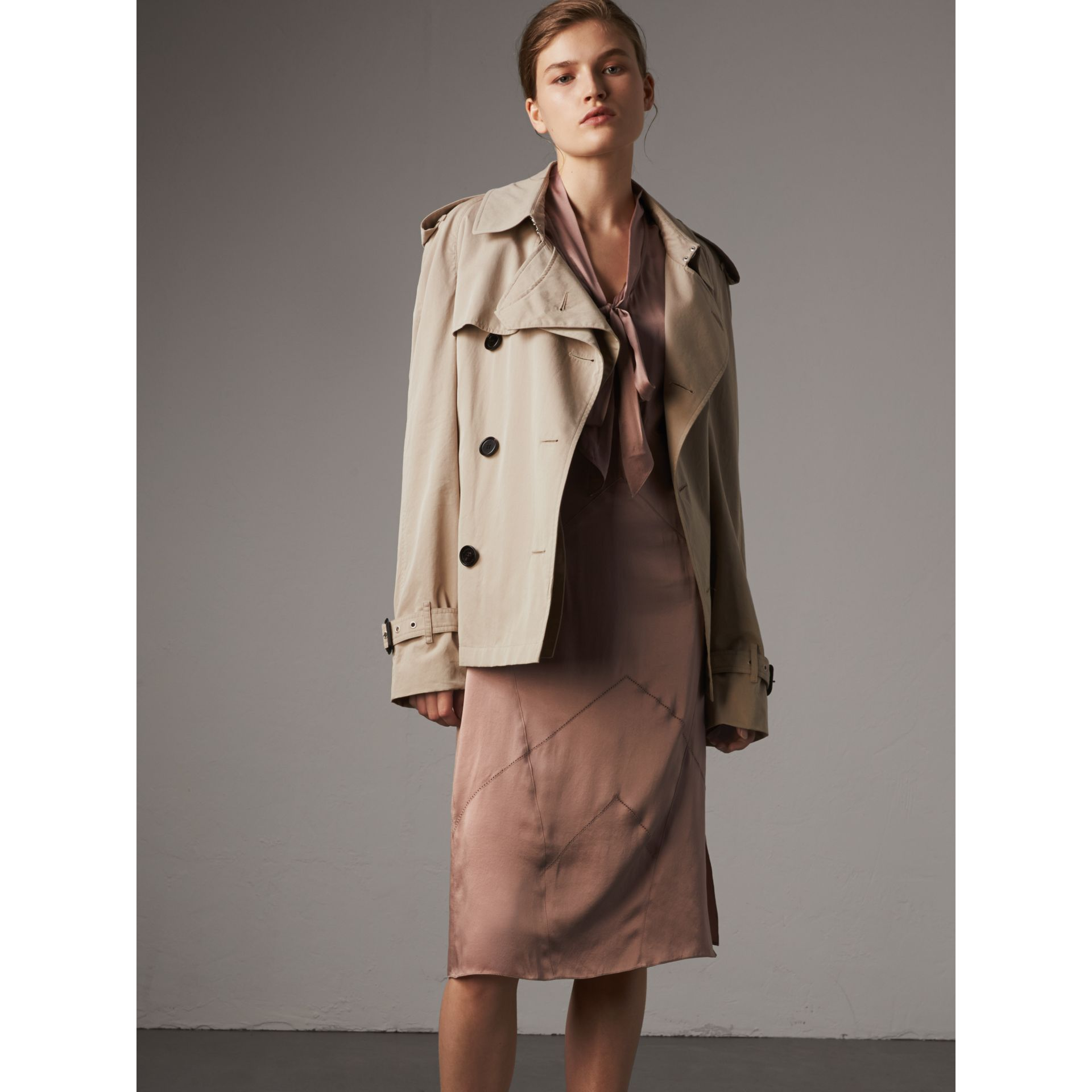 Silk Satin Tie-neck Dress in Antique Taupe Pink - Women | Burberry United Kingdom - gallery image 5