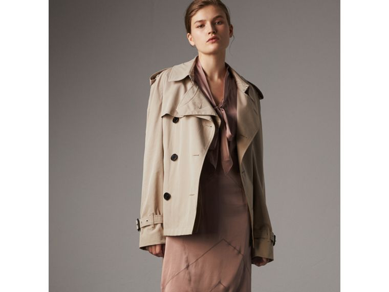 Silk Satin Tie-neck Dress in Antique Taupe Pink - Women | Burberry United Kingdom - cell image 4