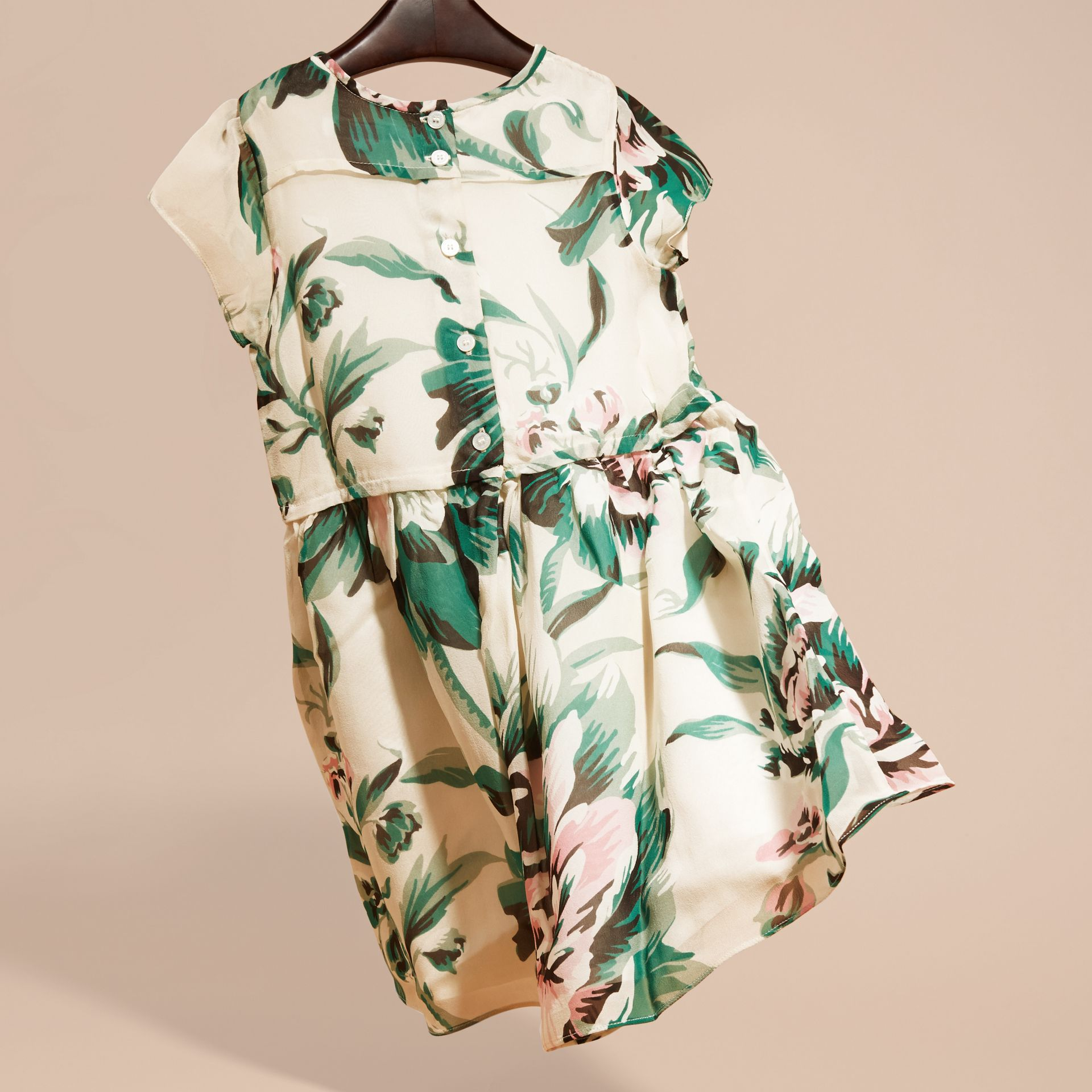 Emerald green Peony Rose Print Silk Dress Emerald Green - gallery image 4