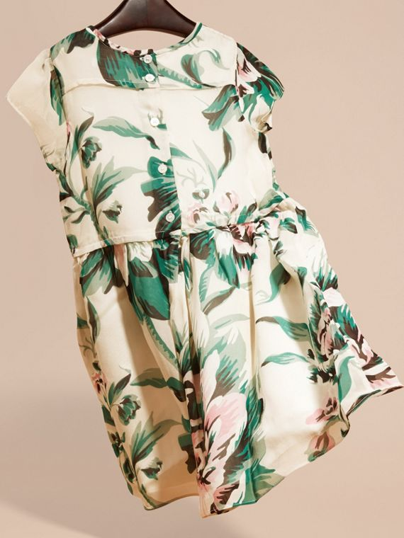 Emerald green Peony Rose Print Silk Dress Emerald Green - cell image 3