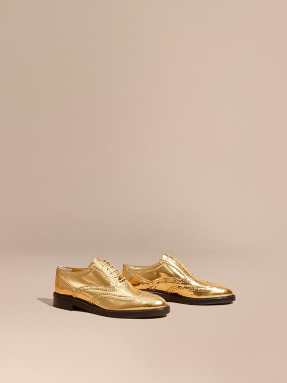Metallic Leather Wingtip Brogues Antique Gold