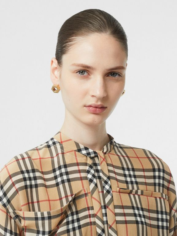 Vintage Check Silk Tie-neck Dress in Archive Beige - Women | Burberry Australia - cell image 1
