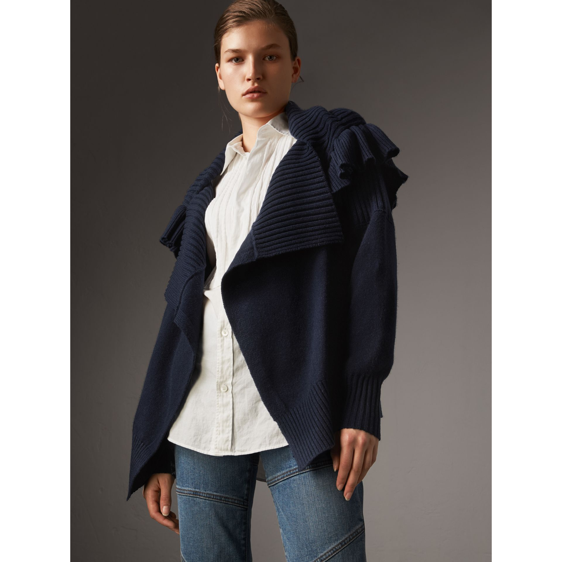 Ruffle Detail Wool Cashmere Cardigan in Navy - Women | Burberry - gallery image 1