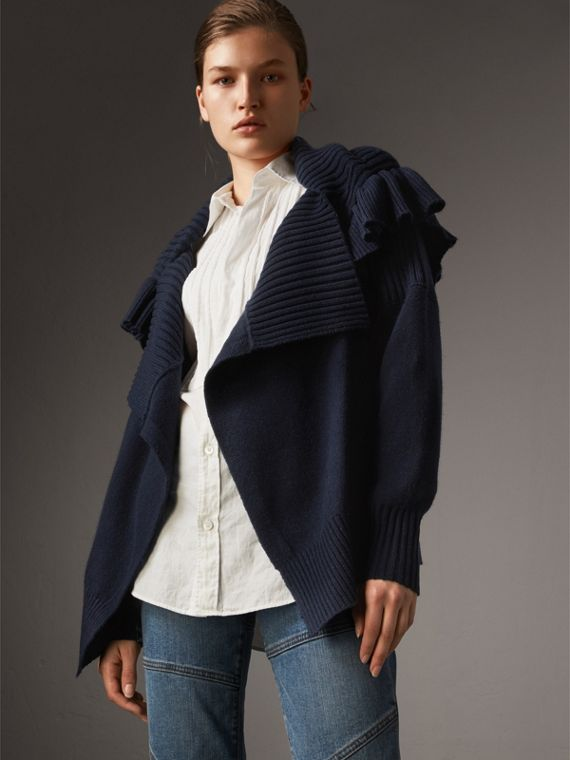 Ruffle Detail Wool Cashmere Cardigan - Women | Burberry Singapore