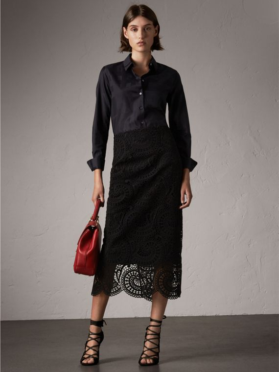 Chemise en coton tissé en jacquard à motif check (Noir)