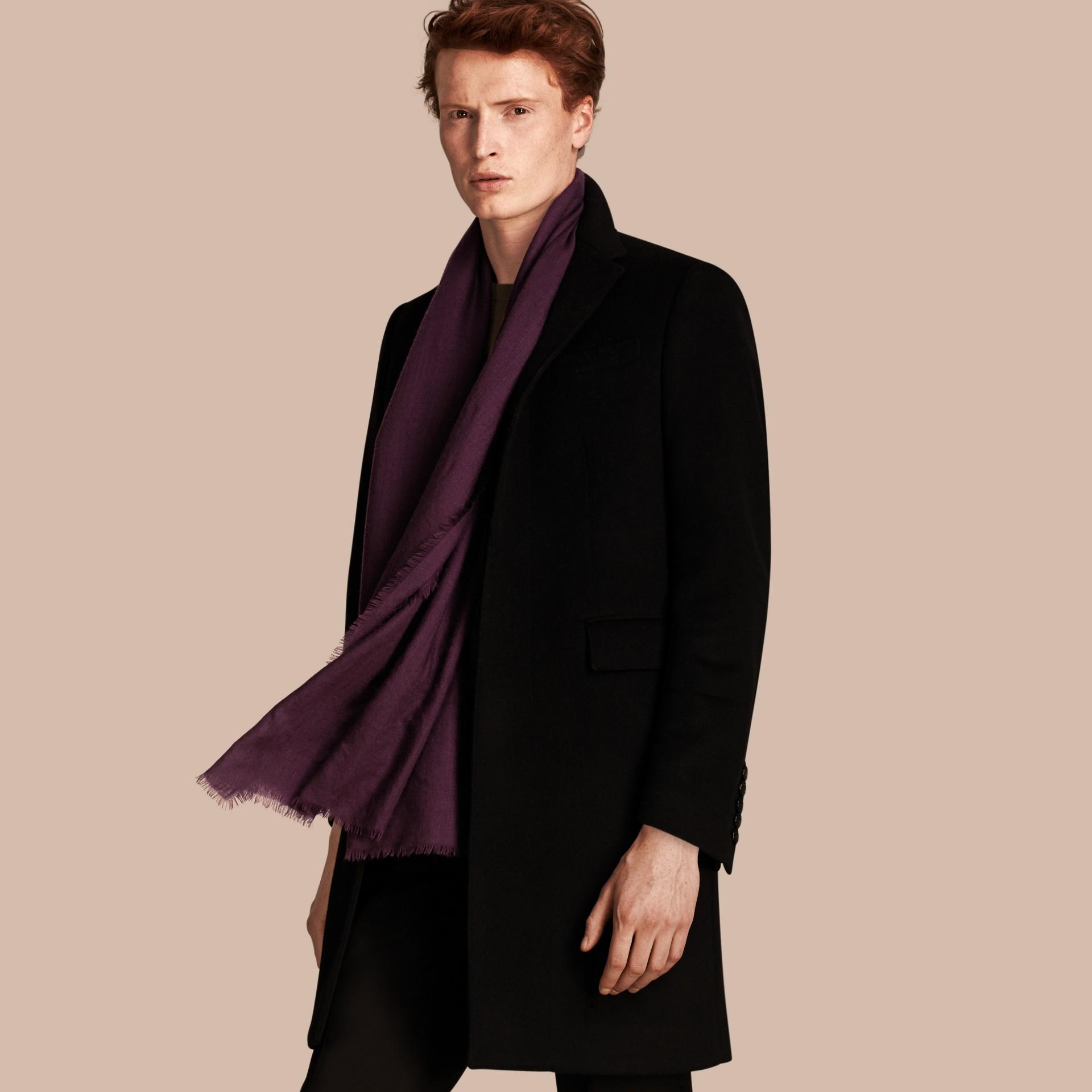 Баклажан Легкий шарф из кашемира Баклажан - изображение 4