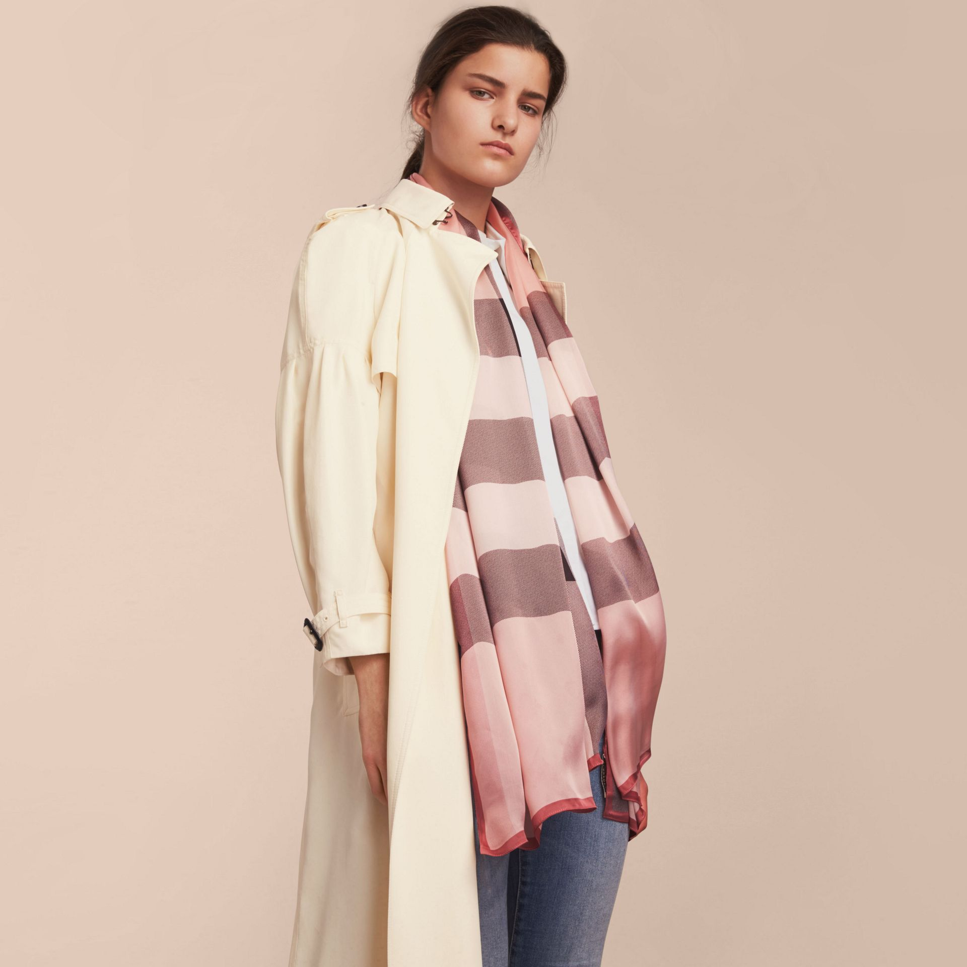Lightweight Check Silk Scarf in Ash Rose - Women | Burberry Australia - gallery image 3