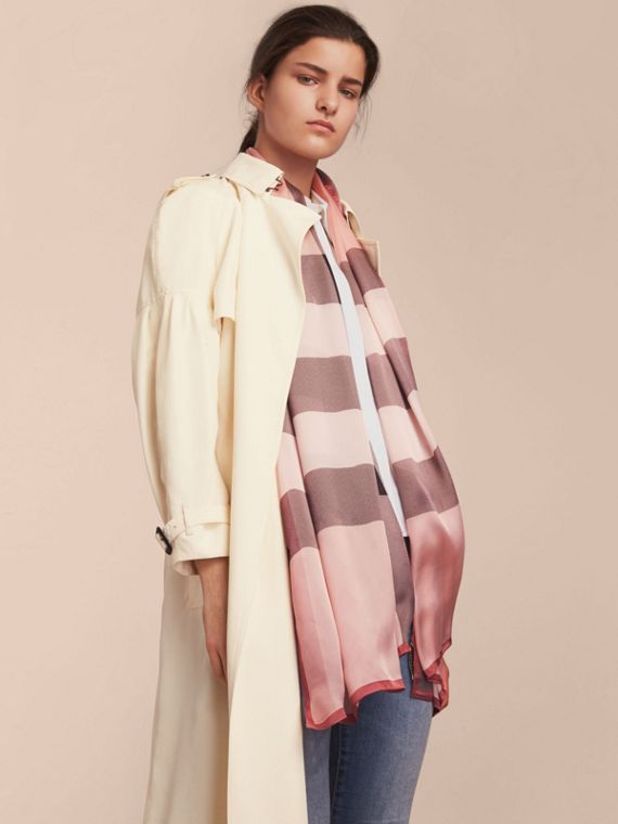 Lightweight Check Silk Scarf in Ash Rose - Women | Burberry - cell image 2