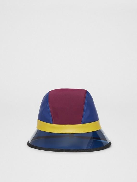 Kingdom Print Colour Block Bucket Hat in Burgundy/blue