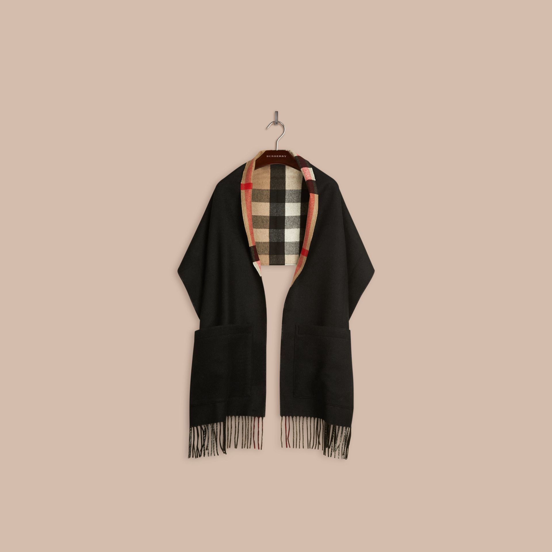 Black Check Lined Wool Cashmere Stole Black - gallery image 4
