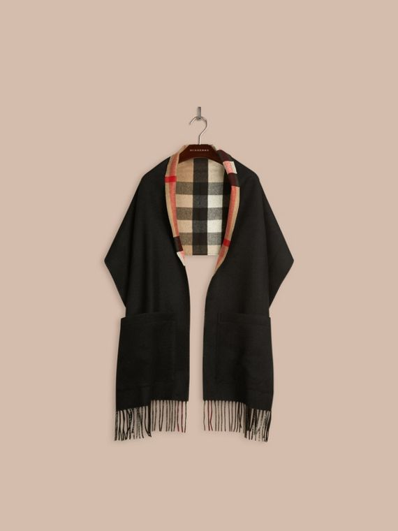 Black Check Lined Wool Cashmere Stole Black - cell image 3