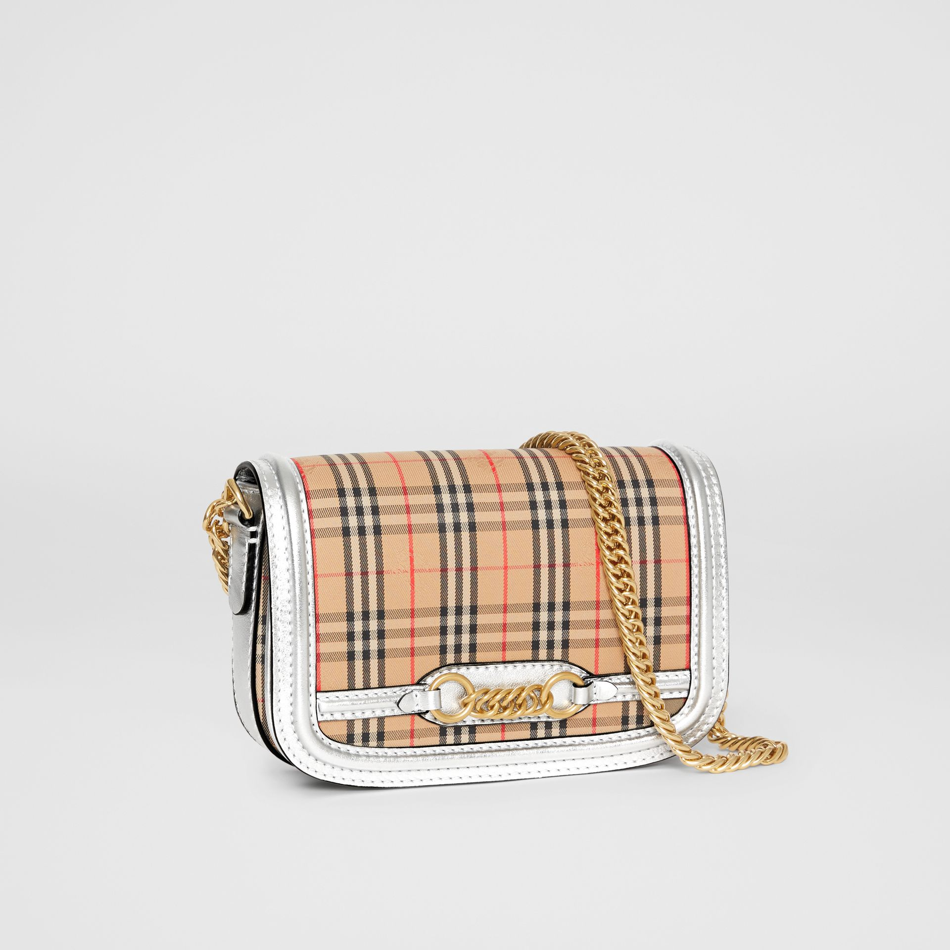 The 1983 Check Link Bag with Leather Trim in Silver - Women | Burberry - gallery image 6