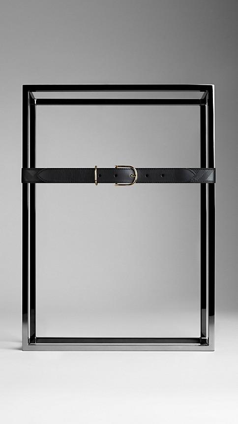 Black Embossed Check London Leather Belt - Image 2