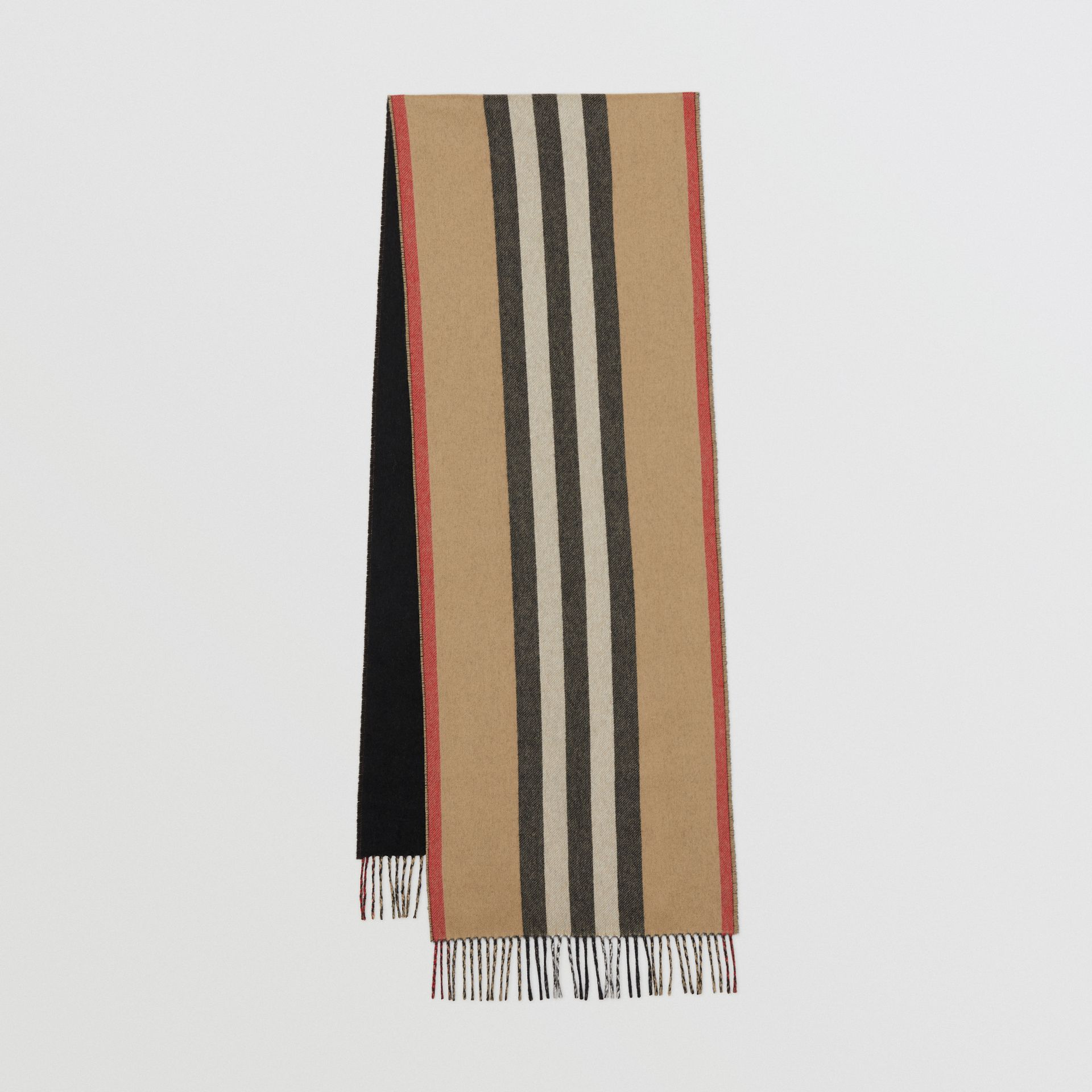Reversible Icon Stripe Cashmere Scarf in Archive Beige | Burberry Canada - gallery image 0