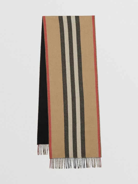 Reversible Icon Stripe Cashmere Scarf in Archive Beige