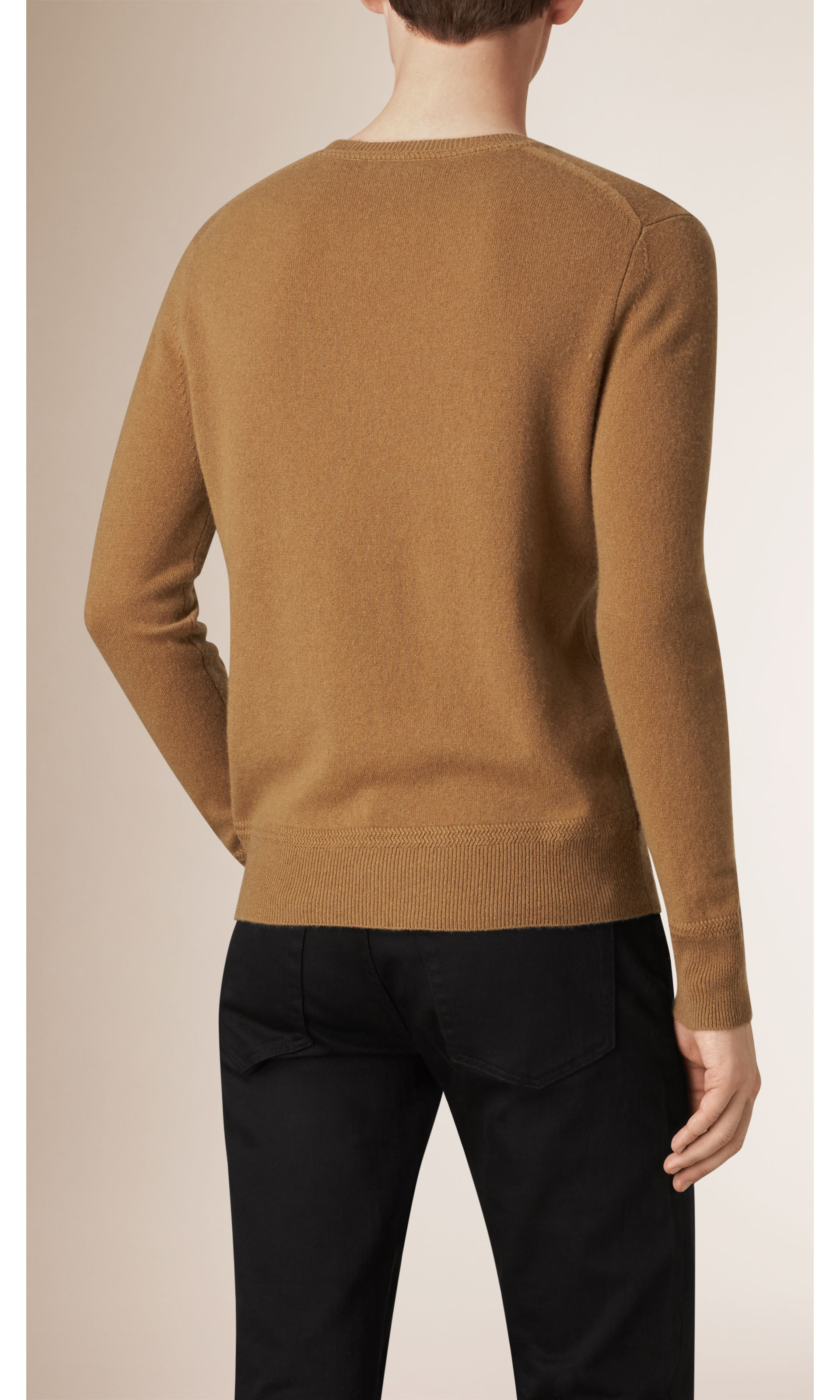 Mid camel Crew Neck Cashmere Sweater Mid Camel - gallery image 2