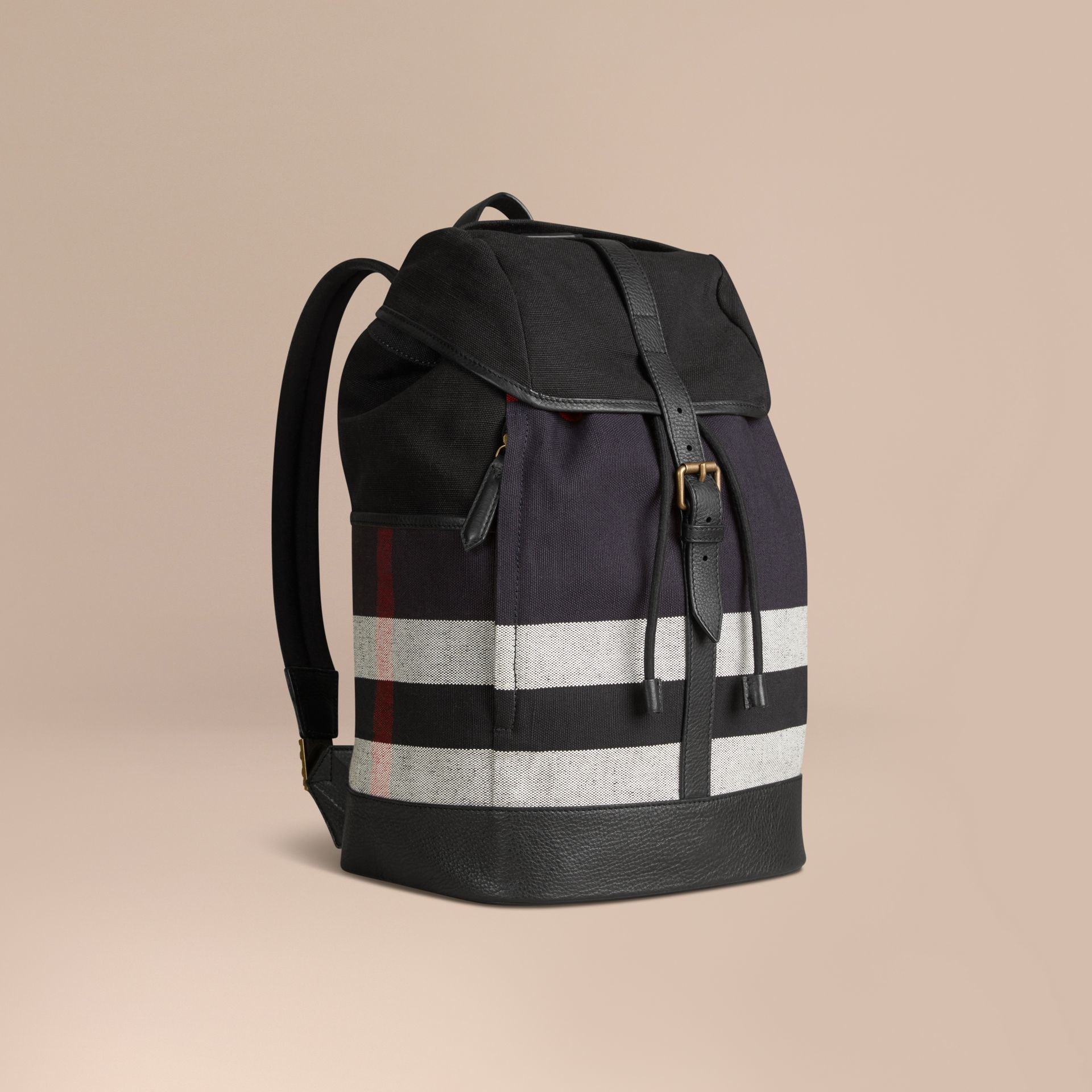 Navy Canvas Check Backpack - gallery image 1
