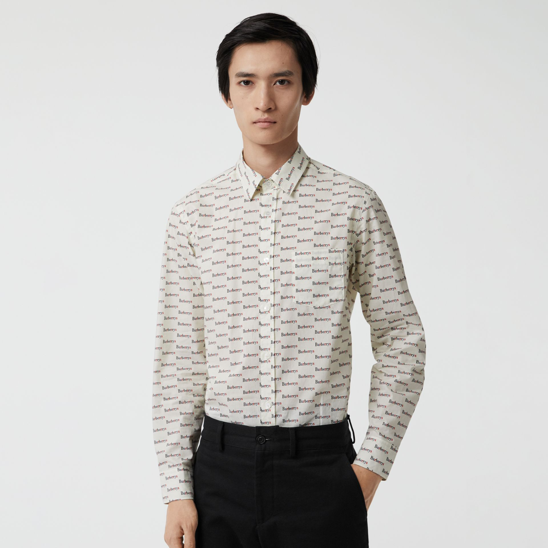 Logo Print Cotton Shirt in White - Men | Burberry United States - gallery image 0