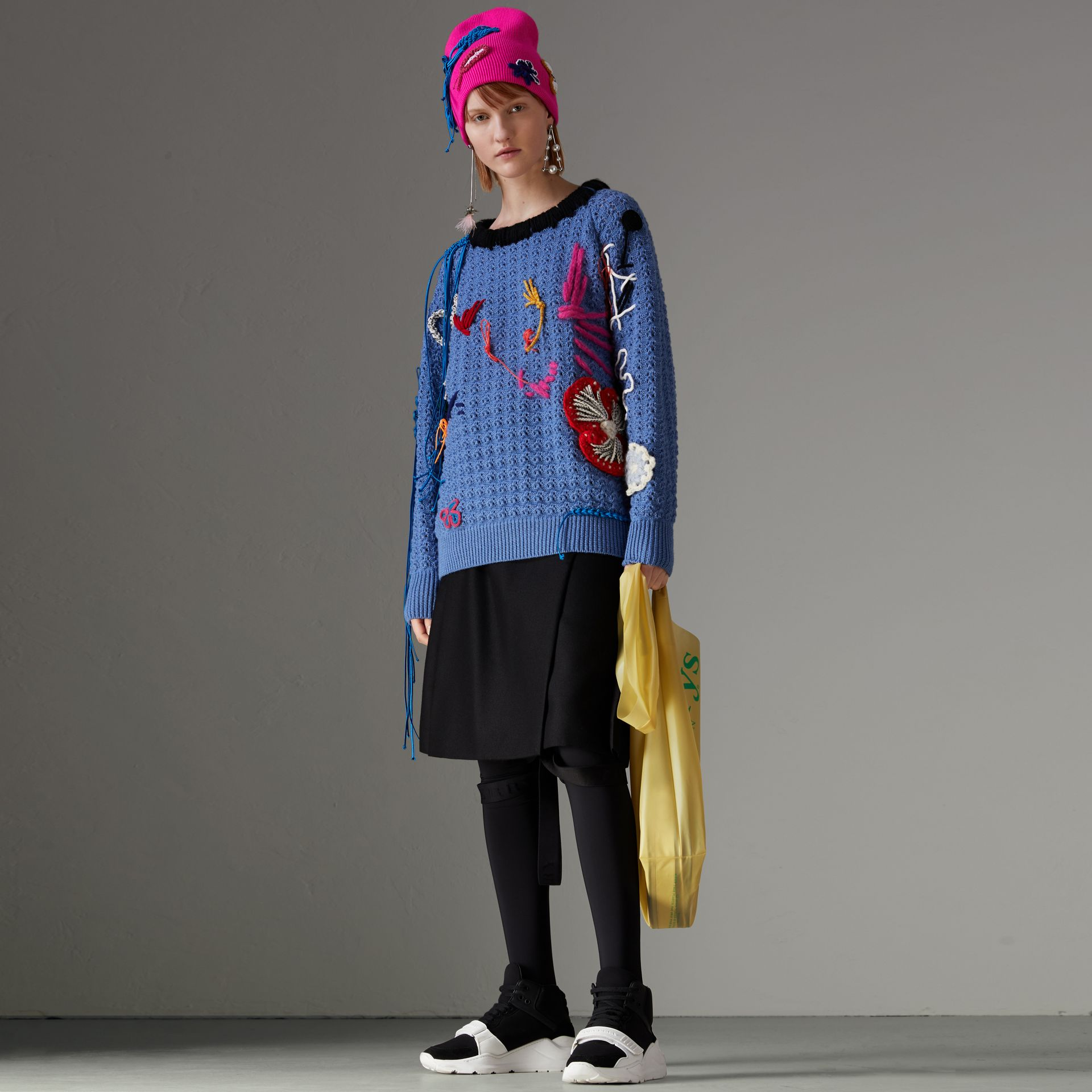 Embellished Wool Lace Sweater in Blue - Women | Burberry Australia - gallery image 0