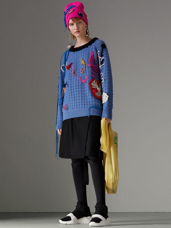 Embellished Wool Lace Sweater in Cornflower Blue