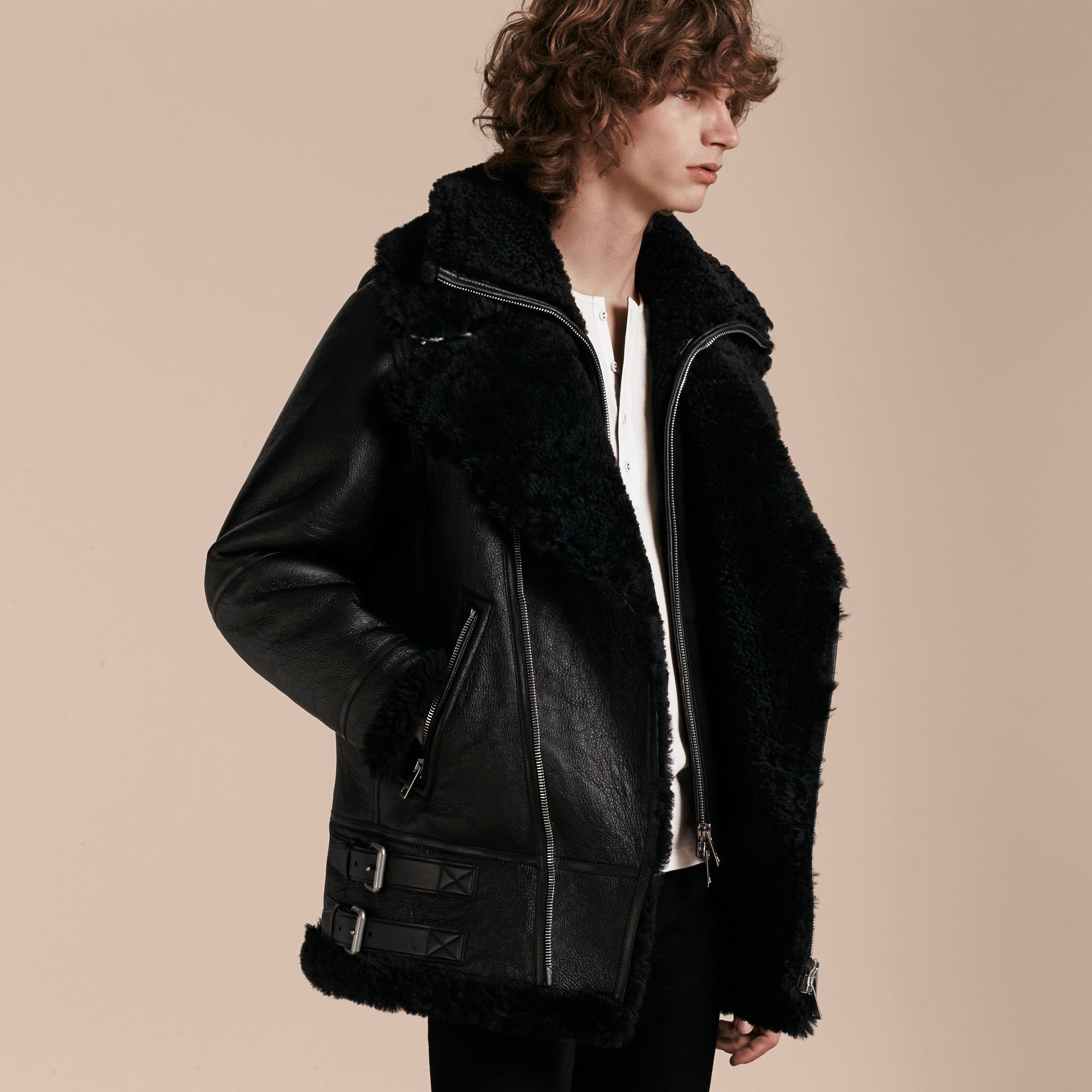 Black Long-line Shearling Aviator Jacket with Zip-out Bib - gallery image 7